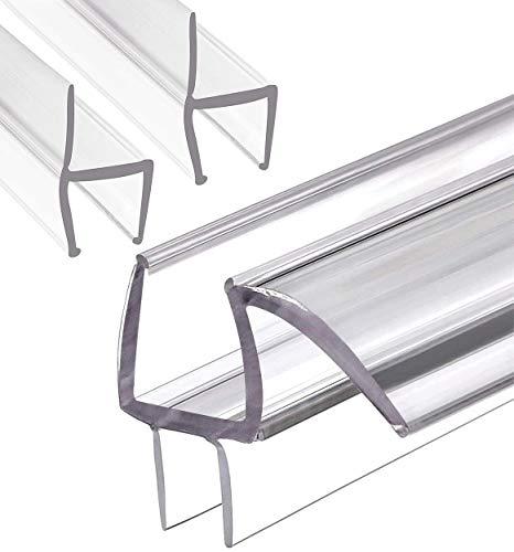 MAGZO Glass Shower Door Sweep Set for 1/2'' Glass, 36'' Length Frameless Glass Shower Door Seal Strip Glass Door Bottom Strip Set for Door Side and Bottom (1pcs M-Type + 2pcs H-Type)