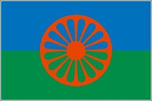 U24 Fahne Flagge Sinti und Roma 90 x 150 cm