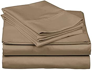600 Thread Count 100% Long Staple Soft Cotton 4 Piece Sheets Set RV Short Queen Size,Smooth & Soft Sateen Weave Luxury Hotel Collection Bedding Taupe Solid
