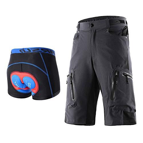 Hombres Pantalones Cortos de Ciclista, Secado Rápido Impermeable Y Transpirable Pantalones Anchos MTB Bike Shorts,Almohadilla de Gel 5D Ropa Interior Ciclismo(Size:M,Color:Gris)