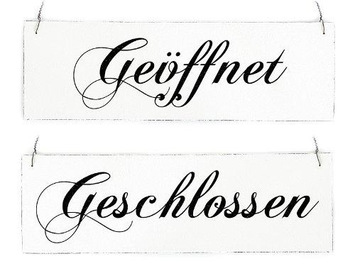 Interluxe Vintage Shabby Schild Türschild GEÖFFNET GESCHLOSSEN Wendeschild Holzschild Landhaus