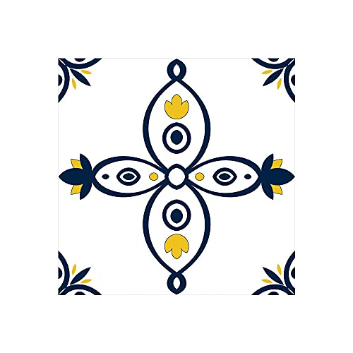Etiquetas Engomadas Del Azulejo Auto Adhesiva Pared Para La Decoración Casera de Pegatinas Pared Impermeables Cocina Pegatinas SueloPatrón azul oscuro 20 X 20cm(5pcs)