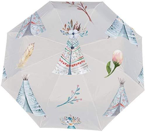 Dreifach gefaltete manuelle Regenschirm-Aquarell-Tapete mit Blütenblüten Nano-manuelle Öffnung Geschlossene dreifach faltende Regenschirm-Sonnencreme, die Sonne und Regen-Handbuch abdeckt