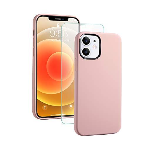 SmartDevil Funda de Silicona Compatible iPhone 12/iPhone 12 Pro con Gratis Vidrio Templado Protector de Pantalla, 6.1', Sedoso Suave, Cubierta a Prueba de Golpes con Forro de Microfibra-Rosado