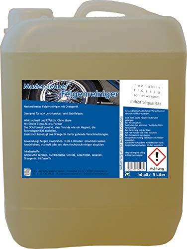 Mastercleaner Felgenreiniger Konzentrat 5 Liter. Der Felgenreiniger mit nat. Orangenöl für Alufelgen Chromfelgen Stahlfelgen ohne Säure und Phosphate