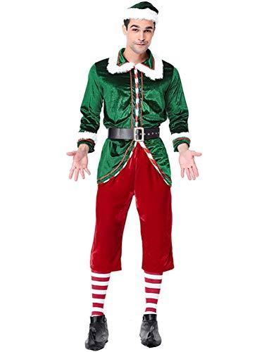 Feynman Disfraz de Papá Noel para Navidad de Manga Larga Traje de Elfo de Rendimiento para Hombre XL