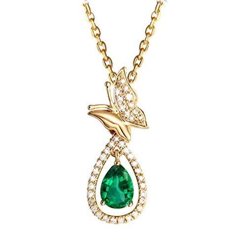 Dreamdge 18K Gold Necklace Butterfly Necklaces for Women, 1.1ct Green Emerald Pendant Necklace