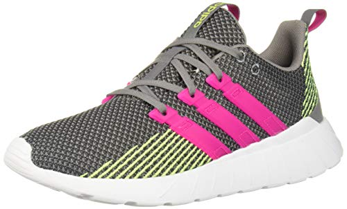 adidas Women's Questar Flow Running Shoe, Grey Metallic/Shock Pink/Hi-Res Yellow, 9.5 Medium US