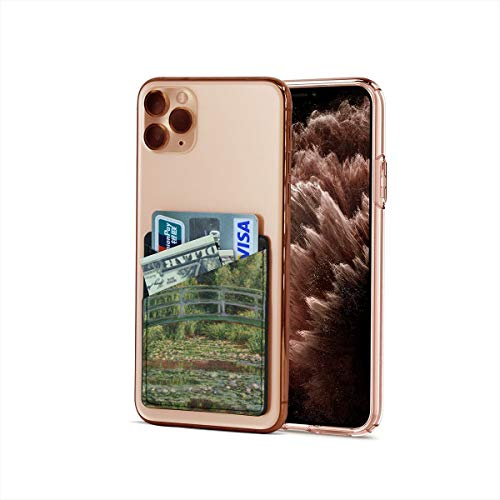 Bolsillo para tarjetas de crédito, ultradelgado Claude Monet Impresionism The Japanese Footbridge and the Water Lily Pool Stick On Wallet Iphone & Android Smartphone Card Case