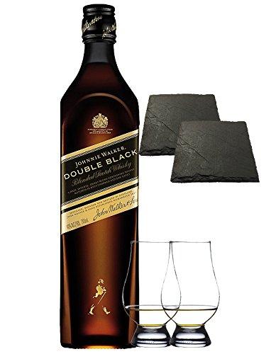 Johnnie Walker Double Black 0,7 Liter + 2 Glencairn Gläser + 2 Schieferuntersetzer ca. 9,5 cm