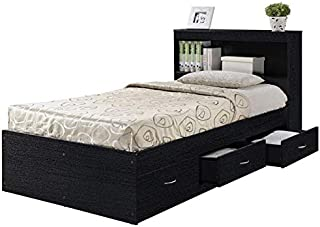 Pemberly Row Twin Captain Storage Bed with 3 Drawers in Black