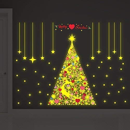 Wallflexi Navidad Brilla en la Oscuridad Magic Copos de Nieve árbol de Navidad Decoraciones/Pared Pegatinas, Multicolor P, Vinilo, Multicolor, 90 x 60 x 0.02 cm