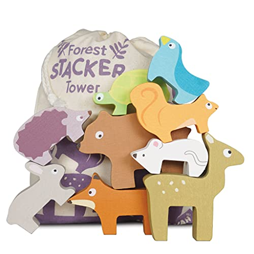 Le Toy Van - Wooden Petilou Forest Stacker Puzzle & Bag Educational Balancing Activities Toy   Great Gift for Kids and Toddlers   Suitable for Age 18+ Months Old