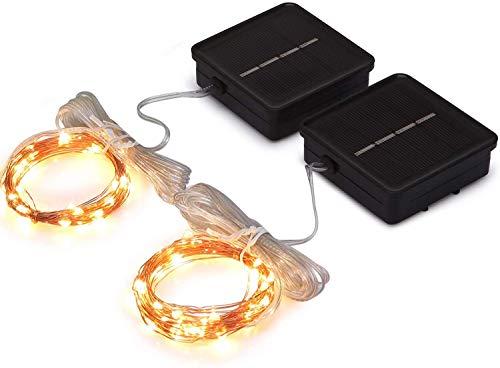 ZKHONG Solar Mini Teeny winzige Lichter, Sternen String Licht für Garten Fee, Baum, Geländer, Arbor, Zaun, 16 Fuß 50 LEDs, 2 Pack