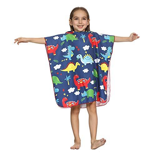 ED-Lumos Asciugamano da Bagno con Cappuccio per Boy Girl Beach Poncho Accappatoio in Microfibra Infantile 4-7 Anni Dinosaur Muticolor
