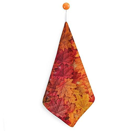 Toallas de mano de hojas de arce rojo llameando, fibra superfina, ultra suaves y altamente absorbentes, extra grandes, gruesas toallas de mano, 30 x 30 cm, toallas de cocina