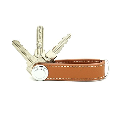 ERCRYSTO Compact Key Holder - Stylish & Practical Pocket Key Organizer with Secure Locking Mechanism. (Brown)