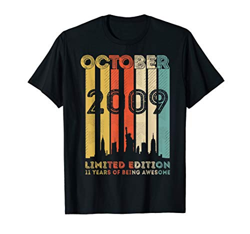 Vintage October 2009 Design 11 Years Old 11th Birthday Gifts T-Shirt