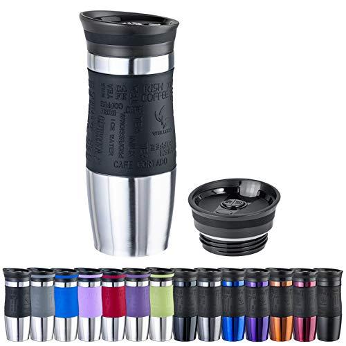 WELLGRO Thermobecher 400 ml + 1 Extradeckel - Edelstahl rostfrei - Silikon Soft-Touch Griffstück - BPA-frei - Isolierbecher doppelwandig - Travel Mug - Kaffeebecher to go, Farbe:Schwarz