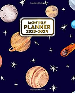 Monthly Planner 2020-2024: Five Year Monthly Schedule Agenda & Organizer | Nifty Planets & Asteroid 5 Year Spread View Planner with To-Do's, Holidays & Inspirational Quotes, Vision Boards & Notes
