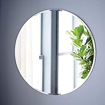Quality Glass Round Frameless Wall Mirror (Glass_Silver_18 x 18 Inch)