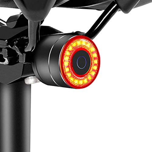 Padonow Smart Bike Tail Light: Auto On/Off Rear Bicycle Flashlight Ultra Bright Back Brake Light High Lumen Daytime Strobe USB Rechargeable Safety Red Led Taillight Waterproof Road Cycling Lights