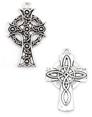 Celtic Cross Charms, 20 pc (10 of Each) Antiqued Silver Tone Pendants, 1 1/2 Inch Long (Set 1)