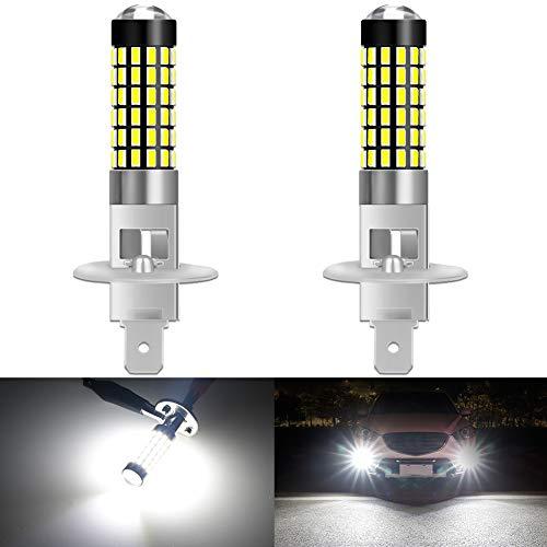 KATUR 2pcs 900 Lumens H1 Base Super Bright 3014 78SMD Lentille LED Ampoules Voiture Conduite Feux diurnes Blanc Xenon 6000K DC 12V-24V