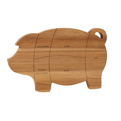 Paula Deen 46594 Pantryware Wooden Pig Cutting Board / Wooden Pig Serving Board - 8.5 Inch x 14 Inch, Brown