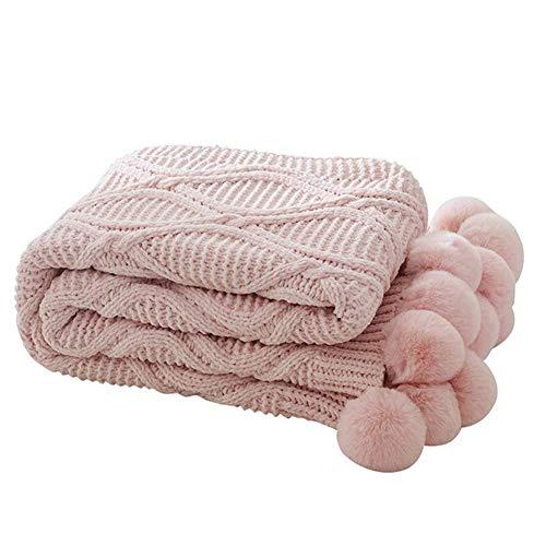 WLGQ Manta de Punto Grueso, acogedora Manta con Bola de Pelo para Sala de Estar/Oficina/sofá, sillón, Manta cálida, Manta de Viaje, Manta cómoda, Manta 4 Estaciones Rosa