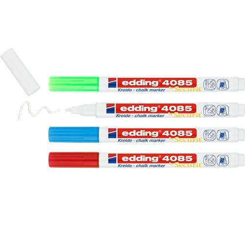 edding 4085 Kreidemarker - rot, weiß, blau, grün (basic) - 4 Kreidestifte - Rundspitze 1-2mm - Kreidestift für Tafel abwischbar - für Fenster, Glas, Spiegel - Tafelstifte mit deckenden Farben