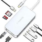 VANMASS USB C Hub 9 in 1 Premium Aluminium USB C Adapter Slim mit 4K HDMI, 4 USB 3.0 Ports, Type C PD, Gigabit Ethernet, SD/TF Kartenleser für Macbook Air/Pro Samsung S10/S9, Tablet Mehr Type-C Geräte
