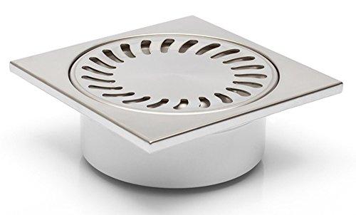 Bonde de douche en acier inoxydable 150 x 150 mm – DN 50 – Très plate – Profondeur d'encastrement : 55 mm – Fermeture anti-odeurs – (320-N)