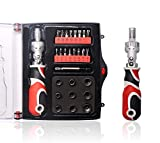T TOVIA Ratchet Screwdriver Set with Bits and Sockets,28 in 1 Flexible Shaft Extension Bit,Household Repair Kit