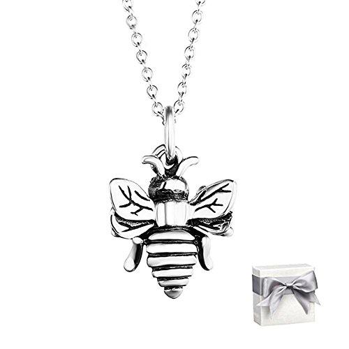 Kette Halskette Frauen Anhänger Mädchen,BBYaki Kleine Biene,Urlaub Geburtstag Beste Geschenk Gib Frau Freundin Guter Freund Schwestern,S925 Silber 18 Zoll Kette