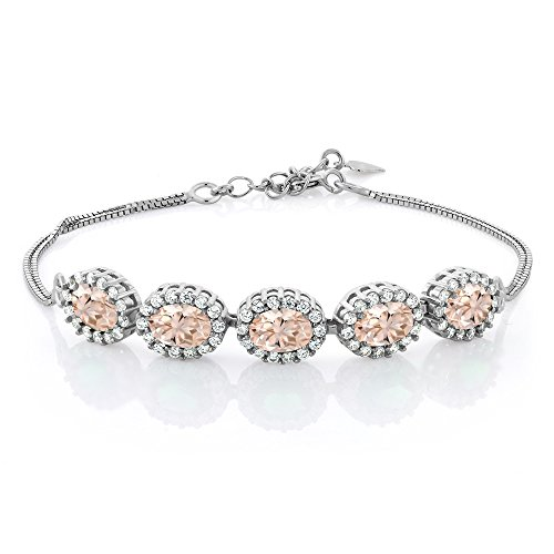 Gem Stone King 925 Sterling Silver Peach Morganite Tennis Bracelet For Women (4.29 Ct Oval 7X5MM)