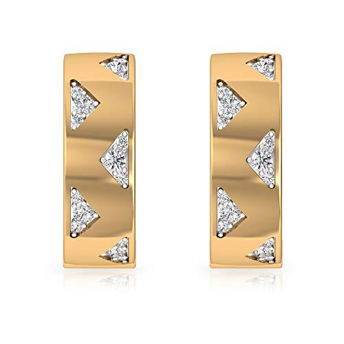 HI-SI - Pendientes de aro de diamante, mínimos para mujer, dos tonos de oro, clip amarillo