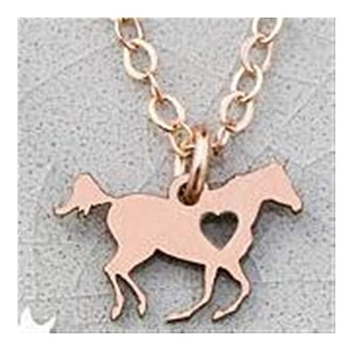 chenyou Collar con colgante personalizado para amantes de los caballos, joyería de caballo de carreras, collar (color de metal: color oro rosa)