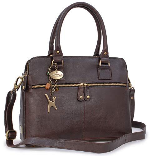 Catwalk Collection Handbags - Leder - Große Schultertragetasche/Umhängetasche/Shopper/Tote - Handtasche mit Schultergurt - VICTORIA - Braun
