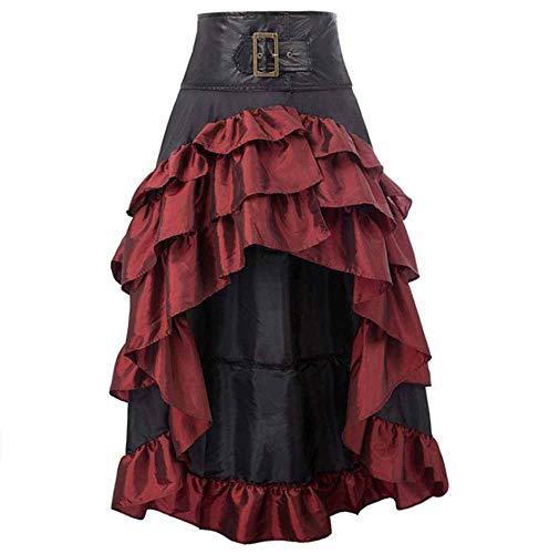 worclub Falda Asimétrica para Mujer, Retro Estilo Steampunk Victoriano Falda Gótica Moda Falda Larga Disfraz