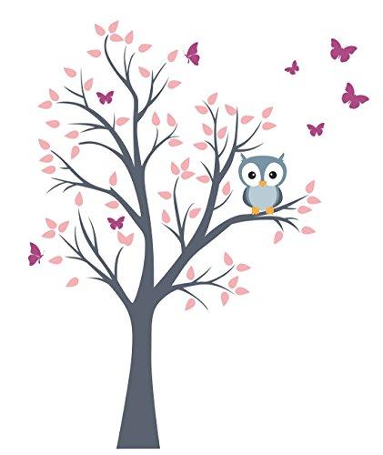 madras24 Wandtattoo Kinder Babyzimmer Aufkleber Eule Eulen Wandsticker Wand Waldtiere Kinderzimmer Wandaufkleber Dekoration fürs Baby Kindergarten Baum Tiere Grau