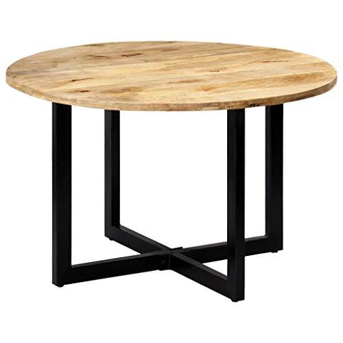 vidaXL Mangoholz Massiv Esstisch Vintage Esszimmertisch Holztisch Küchentisch Speisetisch Tisch Massivholztisch Esszimmer Küche Rund 120x73cm Eisen