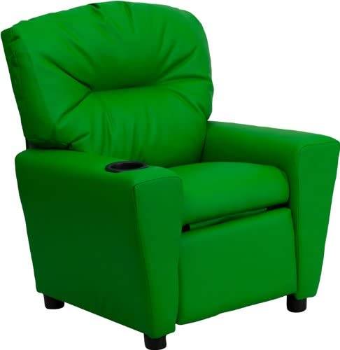 Best Flash Furniture Contemporary Green Vinyl Kids Recliner with Cup Holder