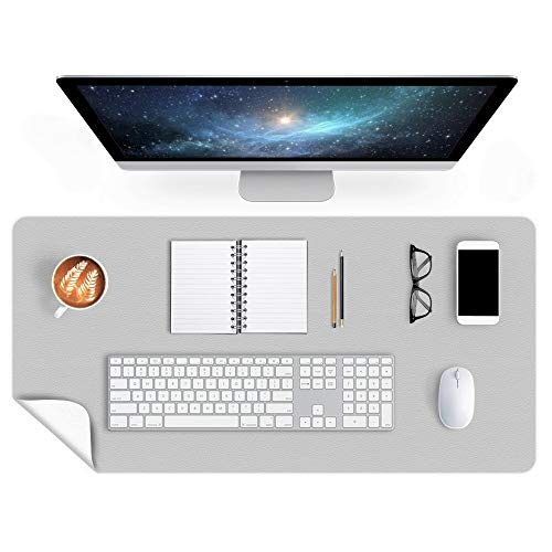 Office Desk Pad Desktop Protector 24 X 48 Inch Desk Blotter on Top of Desks Laptop Computer Under Keyboard Mouse Pad Organizer for Men Girl Women Kids Dual-Sided PU Leather Table Protector Gray/White
