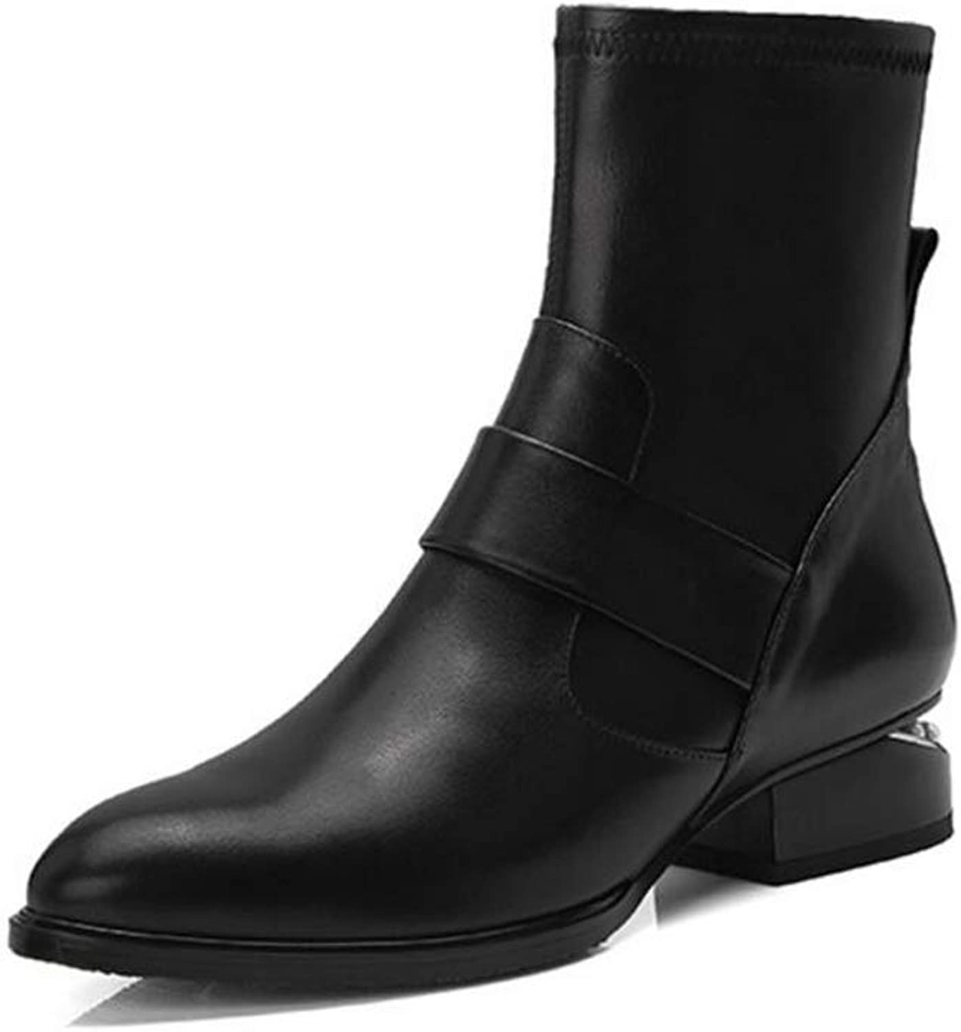 Women's Booties, Leather Chelsea Boots, Women Autumn Winter shoes, Black Ankle Boots Female Biker Boots Fall Booties Popular Footwear (color   Black, Size   36)