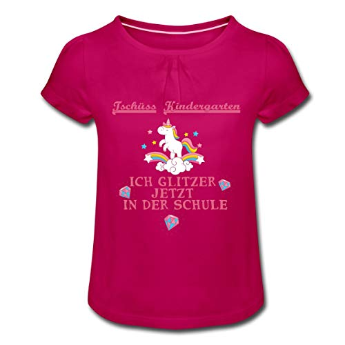 Einschulung Einhorn Ich Glitzer Jetzt In Der Schule Mädchen T-Shirt mit Raffungen, 6 Jahre, Fuchsia