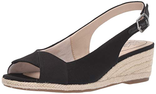 LifeStride Women's Socialite Espadrille Wedge Sandal, Black, 7 M US