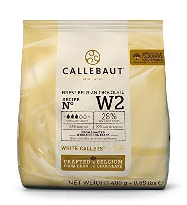 CALLEBAUT Receipe No. W2 - Kuvertüre Callets, Weiße Schokolade, 28% Kakao, 400g - 1er Pack