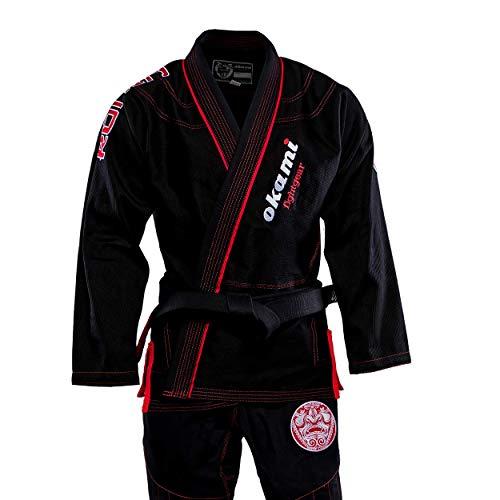 OKAMI Fightgear BJJ Gi Ronin Schwarz - Limited Edition - Herren Männer BJJ Gi Kimono Jiu Jitsu Anzug für Erwachsene (A2L)