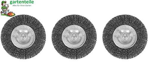 3er Set Fugenbürste passend für Akku Fugenbürste gartenteile AFB 1810 4010 Metall/Draht/runde Drahtbürste/Metallbürste